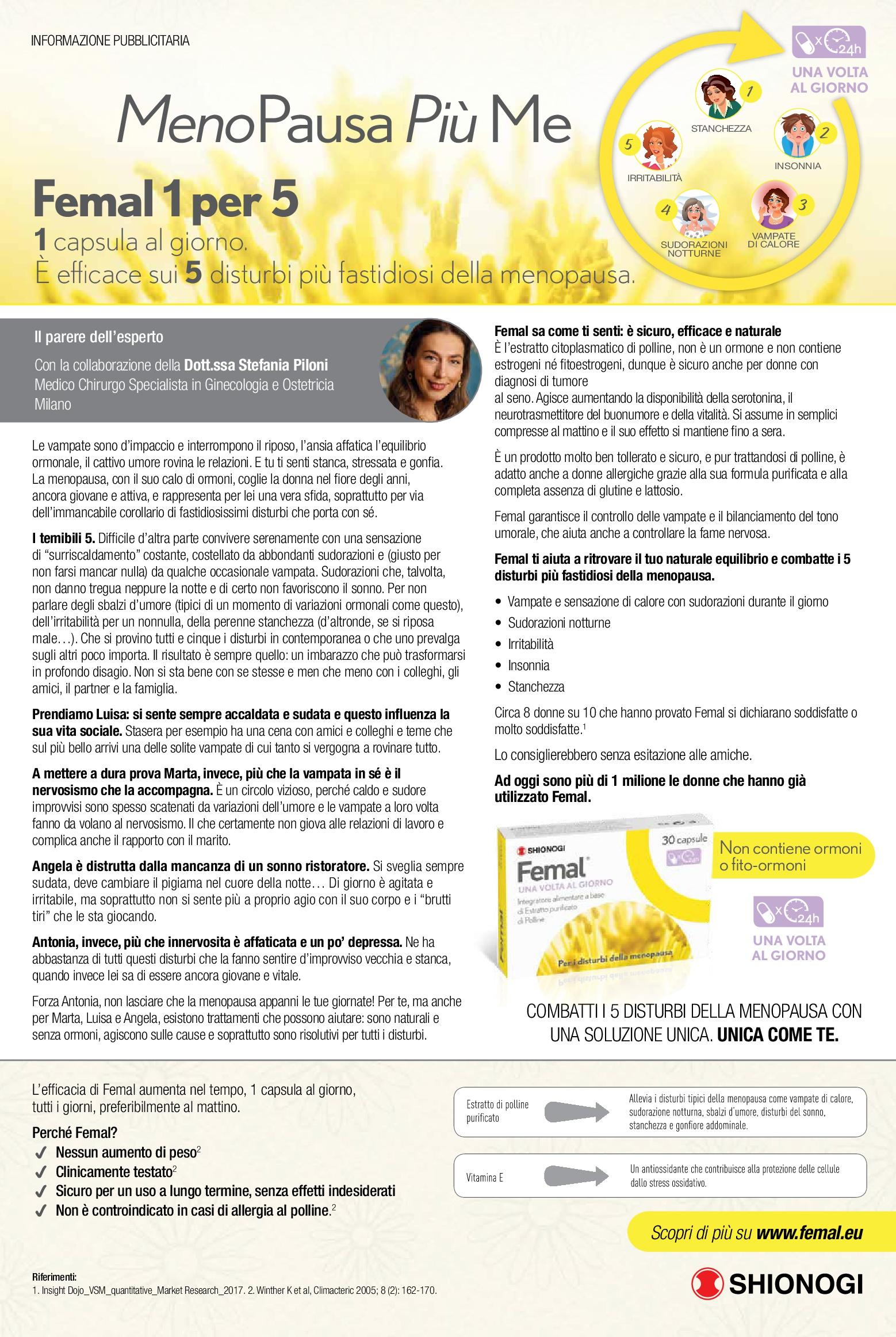 menopausa femal 1 capsula per 5 disturbi adv